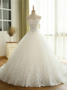 Free and Easy White Lace Up Wedding Dresses Beading and Lace and Appliques Sleeveless Court Train