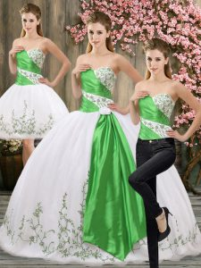Clearance Sleeveless Embroidery and Belt Lace Up 15 Quinceanera Dress