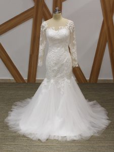 Fashion White Zipper Scoop Lace and Appliques Wedding Gowns Tulle Sleeveless Brush Train