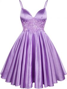 Lilac Lace Up Spaghetti Straps Lace Wedding Guest Dresses Elastic Woven Satin Sleeveless