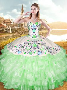 Most Popular Sleeveless Organza and Taffeta Lace Up Vestidos de Quinceanera for Military Ball and Sweet 16 and Quinceanera