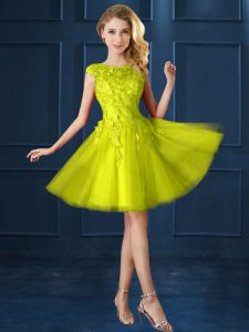 Cap Sleeves Knee Length Lace and Appliques Lace Up Dama Dress for Quinceanera with Yellow
