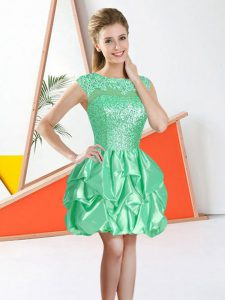 Apple Green Bateau Neckline Beading and Lace and Ruffles Wedding Guest Dresses Sleeveless Backless