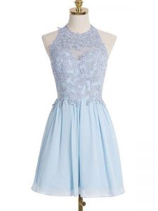 Beautiful Light Blue Chiffon Lace Up Vestidos de Damas Sleeveless Knee Length Appliques