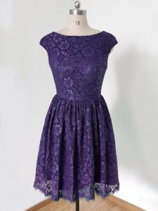 Knee Length Purple Bridesmaid Dress Scoop Cap Sleeves Lace Up