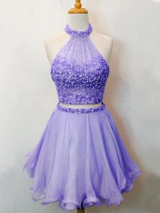 Halter Top Sleeveless Vestidos de Damas Knee Length Beading Lavender Organza