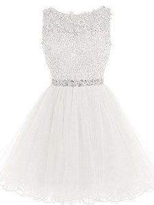 A-line Prom Dress White Scoop Tulle Sleeveless Mini Length Lace Up