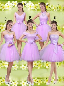 Free and Easy Lilac Lace Up Sweetheart Lace and Belt Court Dresses for Sweet 16 Tulle Sleeveless
