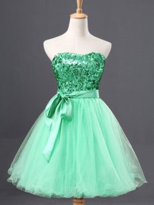 Wonderful Tulle Sweetheart Sleeveless Zipper Sequins Prom Gown in Apple Green