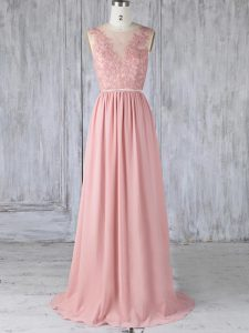 Beauteous Pink Backless Scoop Appliques Quinceanera Court of Honor Dress Chiffon Sleeveless Sweep Train