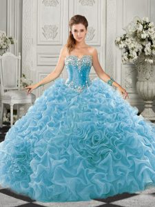 Deluxe Sleeveless Beading and Ruffles Lace Up Vestidos de Quinceanera with Aqua Blue Court Train