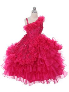 Modern Sleeveless Lace and Ruffles and Ruffled Layers Lace Up Party Dress for Girls