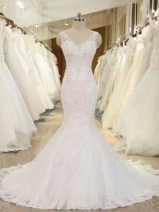 Admirable Sleeveless Tulle Brush Train Backless Wedding Gown in White with Beading and Lace and Appliques