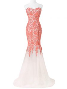Sweetheart Sleeveless Tulle Evening Dress Lace and Appliques Lace Up