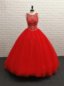 Beading Sweet 16 Dress Red Zipper Sleeveless Brush Train
