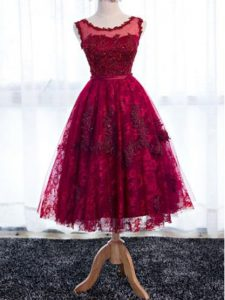 Tea Length Fuchsia Court Dresses for Sweet 16 Scoop Sleeveless Zipper