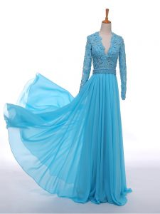Romantic Floor Length Baby Blue Mother of Groom Dress Chiffon Long Sleeves Lace