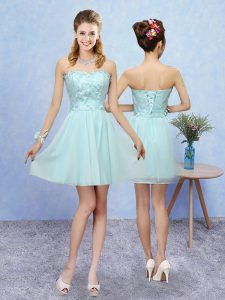 Excellent Sleeveless Lace Up Mini Length Appliques Wedding Party Dress