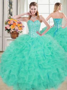 Dynamic Turquoise Organza Lace Up Sweetheart Sleeveless Floor Length Quinceanera Dress Beading and Ruffles