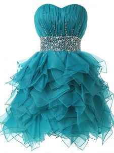 Teal Sweetheart Neckline Beading and Ruffles and Ruching Cocktail Dresses Sleeveless Lace Up