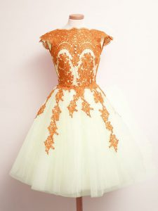 Fashionable Multi-color Lace Up Bridesmaid Dresses Appliques Sleeveless Mini Length