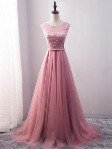 Exceptional Pink Scoop Lace Up Beading and Belt Evening Outfits Brush Train Sleeveless