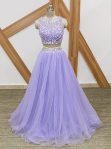 Floor Length Lavender Prom Dress Tulle Sleeveless Beading