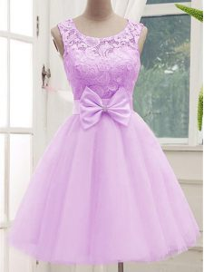 Gorgeous Knee Length Lilac Dama Dress Tulle Sleeveless Lace and Bowknot