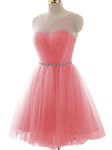 Tulle Sleeveless Mini Length Cocktail Dresses and Ruching