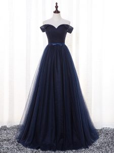 Gorgeous Navy Blue Sleeveless Tulle Lace Up Bridesmaid Dress for Prom and Party and Wedding Party