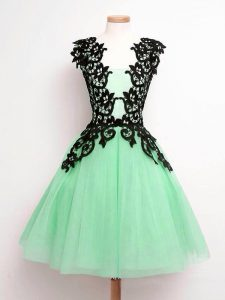 Deluxe A-line Damas Dress Apple Green Straps Tulle Sleeveless Knee Length Lace Up