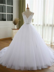 Sleeveless Beading and Lace and Appliques Lace Up Bridal Gown with White Court Train
