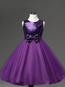 Tea Length Purple Girls Pageant Dresses Tulle Sleeveless Sequins and Bowknot