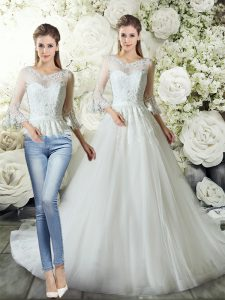 Glorious White V-neck Zipper Lace Wedding Gown Court Train 3 4 Length Sleeve