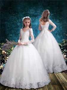 White Toddler Flower Girl Dress Wedding Party with Lace V-neck 3 4 Length Sleeve Lace Up