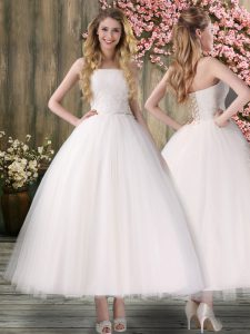 Beautiful White Lace Up Off The Shoulder Embroidery Bridal Gown Organza Sleeveless
