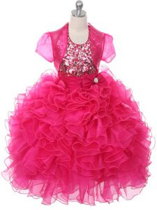 Charming Floor Length Hot Pink Pageant Gowns For Girls Organza Sleeveless Ruffles and Sequins and Bowknot