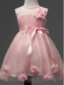 Fancy Pink Zipper Kids Pageant Dress Hand Made Flower Sleeveless Knee Length