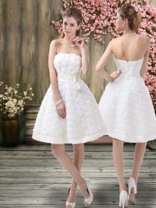 Charming Fabric With Rolling Flowers Sleeveless Knee Length Wedding Dresses and Belt