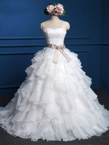 White Ball Gowns Lace and Ruffles Wedding Gown Lace Up Organza Sleeveless Floor Length