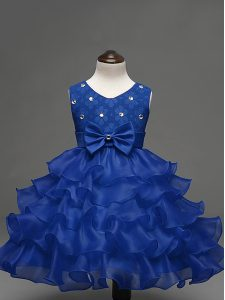 Pretty Sleeveless Organza Knee Length Zipper Little Girl Pageant Dress in Royal Blue with Lace and Ruffled Layers and Bowknot