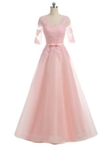 Organza Short Sleeves Floor Length Pageant Dress for Womens and Lace and Appliques
