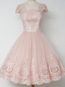 Peach Square Zipper Lace Court Dresses for Sweet 16 Cap Sleeves