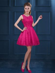 Great Hot Pink Tulle Zipper Dama Dress for Quinceanera Sleeveless Knee Length Lace and Ruffled Layers