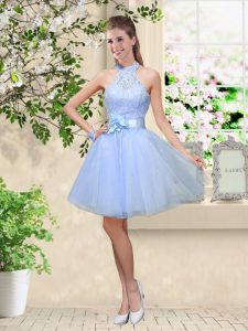 Simple Lace and Belt Quinceanera Court Dresses Lavender Lace Up Sleeveless Knee Length