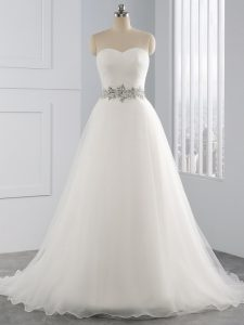 Perfect Sleeveless Brush Train Lace Up Beading Wedding Dress