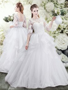Spectacular White A-line Tulle Scoop Half Sleeves Lace and Ruffles Lace Up Wedding Gowns Brush Train