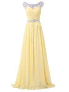High Class Light Yellow Chiffon Backless Red Carpet Gowns Sleeveless Floor Length Beading and Ruching