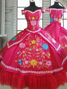Adorable Sweetheart Short Sleeves Lace Up Quinceanera Gown Hot Pink Taffeta