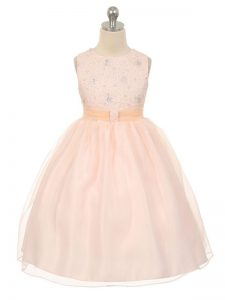 Modern Baby Pink Sleeveless Knee Length Beading Lace Up Juniors Party Dress